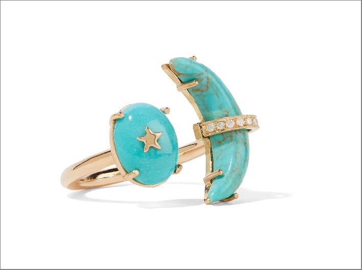 Anello Luna Crescente in oro, turchese e diamanti. Prezzo: 3250 euro