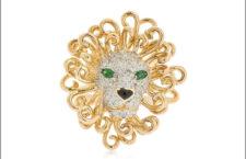 Anello Leon, in oro giallo, diamanti grigi, tsavoriti, onice