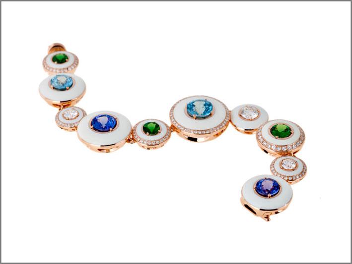 Bracciale con smalto, tsavorite, tanzanite, zirconi blu naturali, diamanti