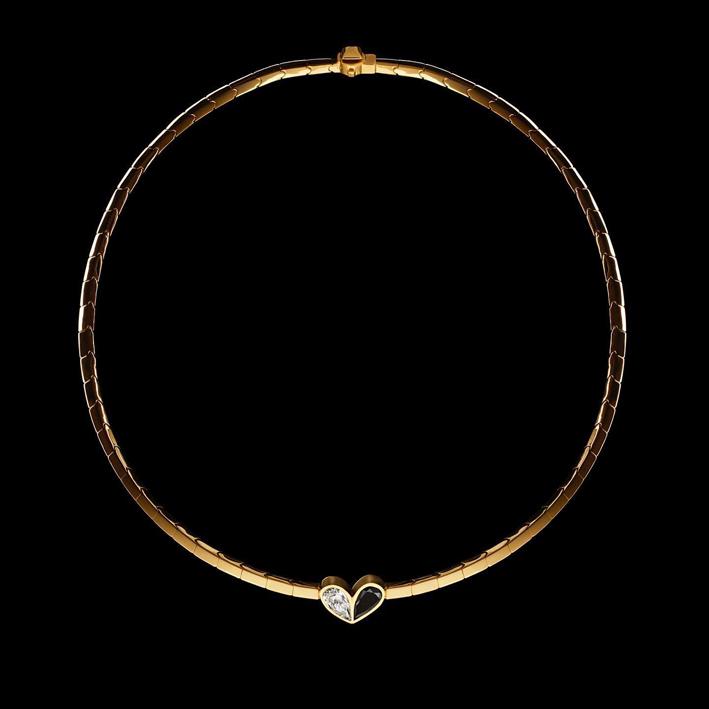 Collana della colelzione Unconditional, oro diamanti bianchi e neri