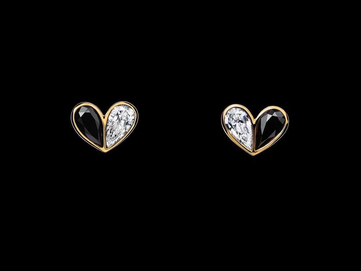 Orecchini della collezione Unconditional, oro diamanti bianchi e neri
