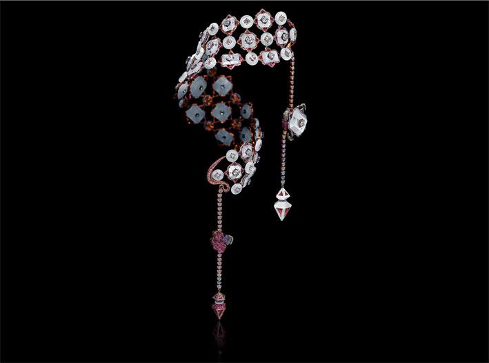 Wallache Chan, Damask Silk. Diamanti trillion, tormalina rosa, diamanti fancy, zaffiro rosa, agata bianca