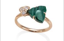 Luca Carati, anello della collezione Natura, oro, diamanti, malachite