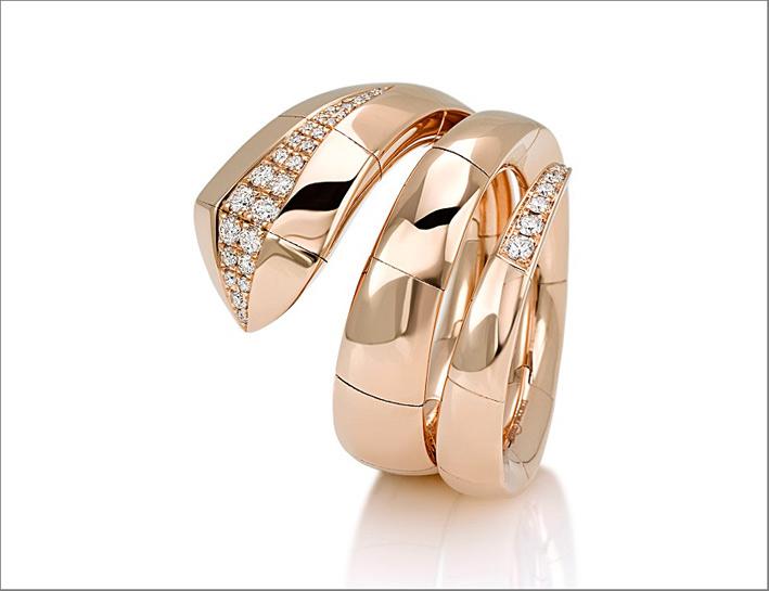 Giorgio Visconti, anello Eden, oro rosa e diamanti bianchi