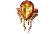 Leyla Abdollahi, anello in oro con citrino e zaffiri
