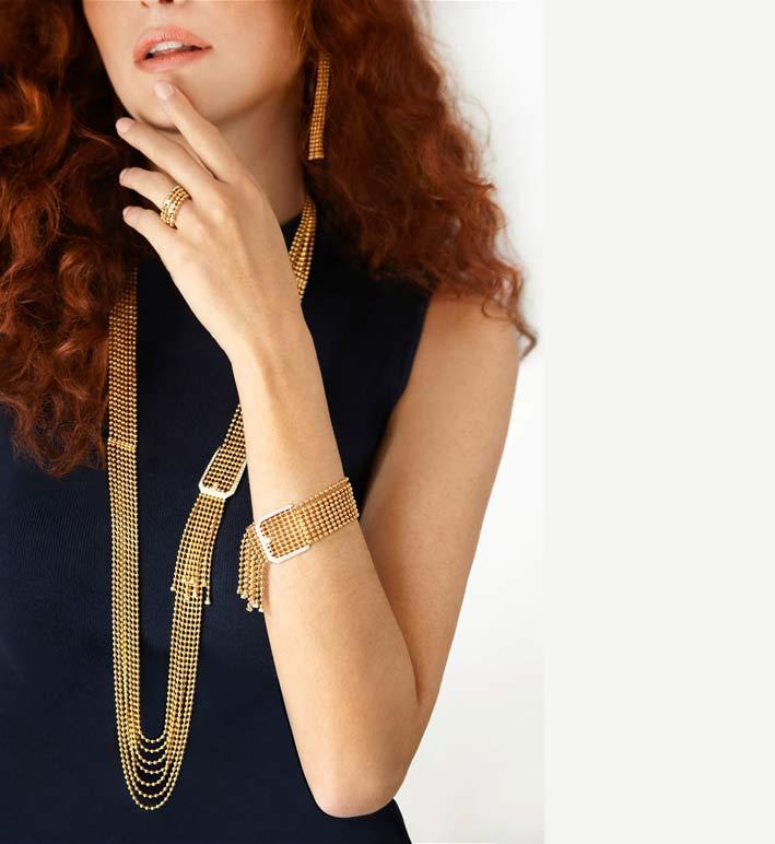 Bracciale e collana in oro giallo della collezione Flapper