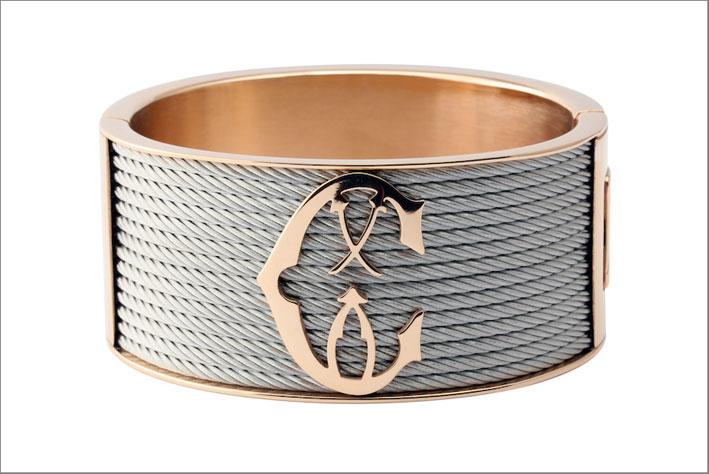 Collezione Forever, bracciale in oro rosa e  cavo grigio