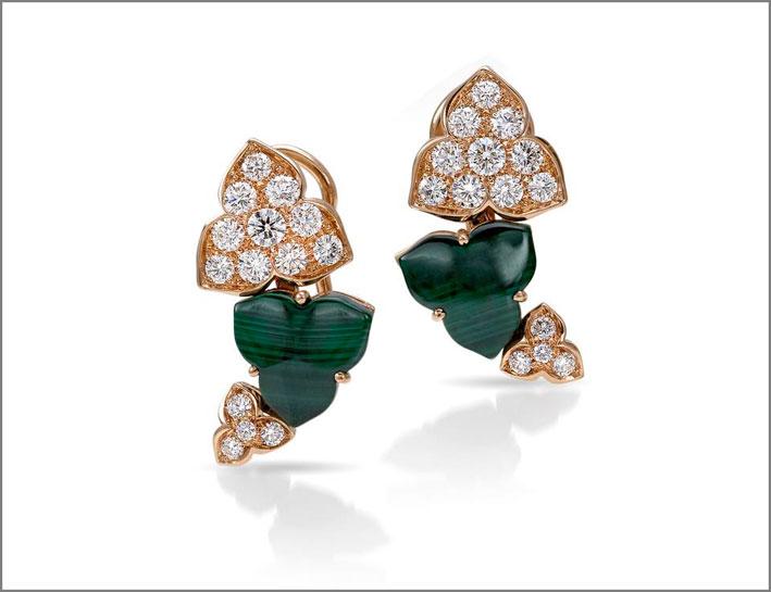 Orecchini della collezione Natura, oro, diamanti, malachite