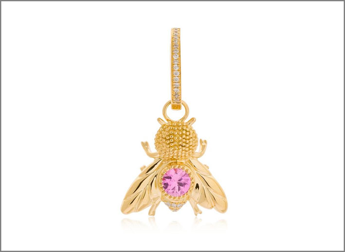 Orecchino singolo Mouche, oro giallo, diamanti grigi, zaffiro rosa