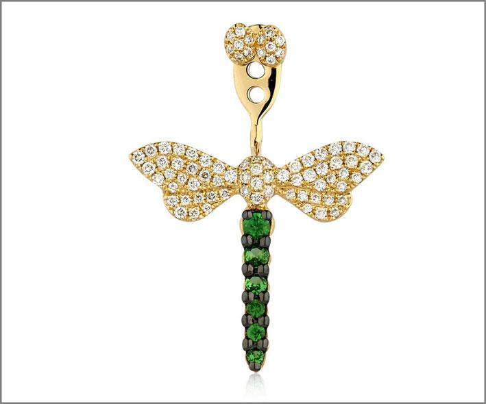 Orecchino singolo Libellula, oro giallo, diamanti, tsavorite