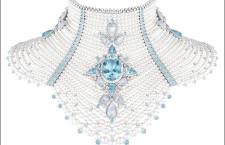 Collier BaÏkal, in oro bianco, acquamarine, perle