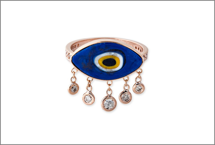 Anello con occhio, oro, smalto e diamanti