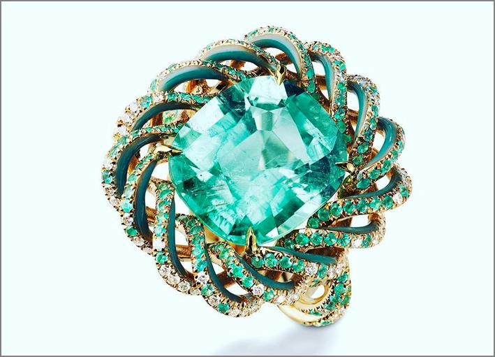 Suzanne Syz, anello cin oro con tormalina, diamanti e smalto