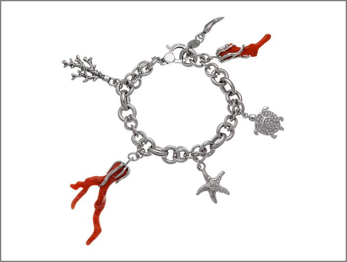 Bracciale in argento con pasta di corallo e cristalli Swarovski