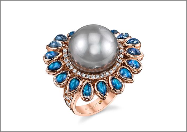 Anello Ocean Lullaby,  oro rosa, perla di Thaiti, diamanti e pietra luna