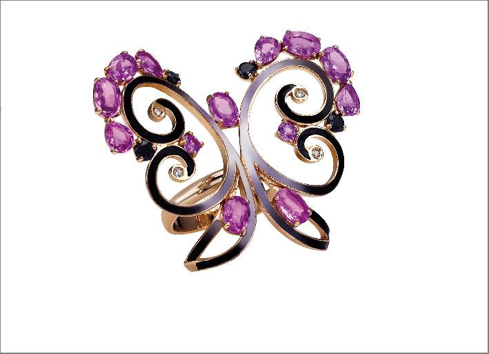 Riccardo Greco, anello Ceylon ispirato allo Sri Lanka, con oro e zaffiri rosa