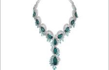 Collana con tormalina diamanti, smeraldi taglio pera
