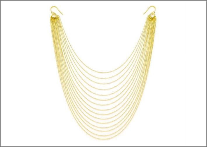 Collana-orecchini con catene placcate oro