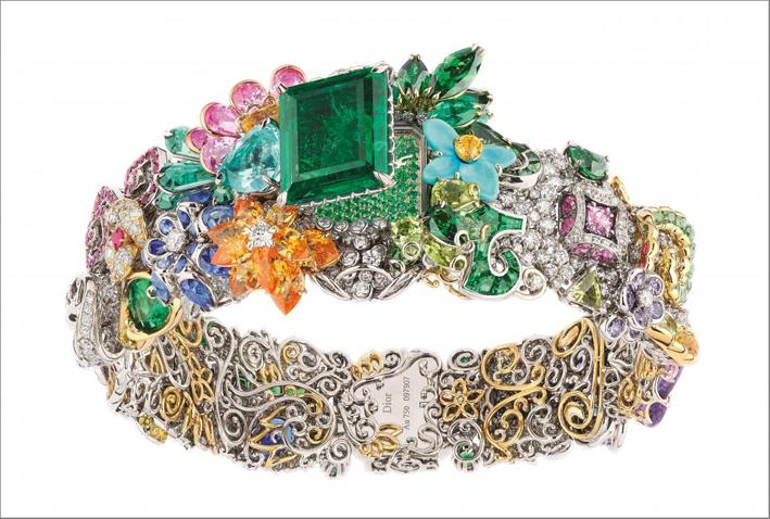 Bracciale.orologio Parterre du Midi, con grande smeraldo quadrato