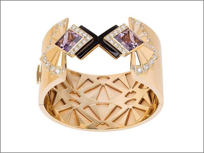 Bracciale in oro, diamanti e ametiste