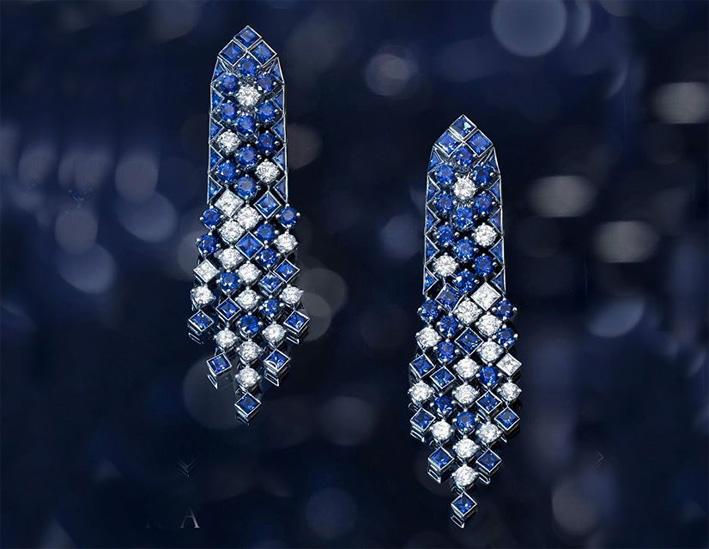 Orecchini Snowfall con zaffiri e diamanti