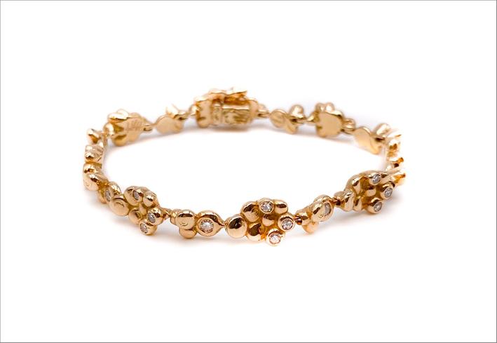 Bracciale Parrucchini in oro rosa e diamanti