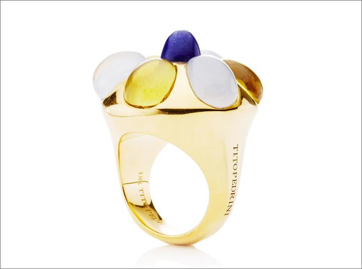 Tito Pedrini, anello Amanda in oro giallo, calcedonio, cromo, citrino