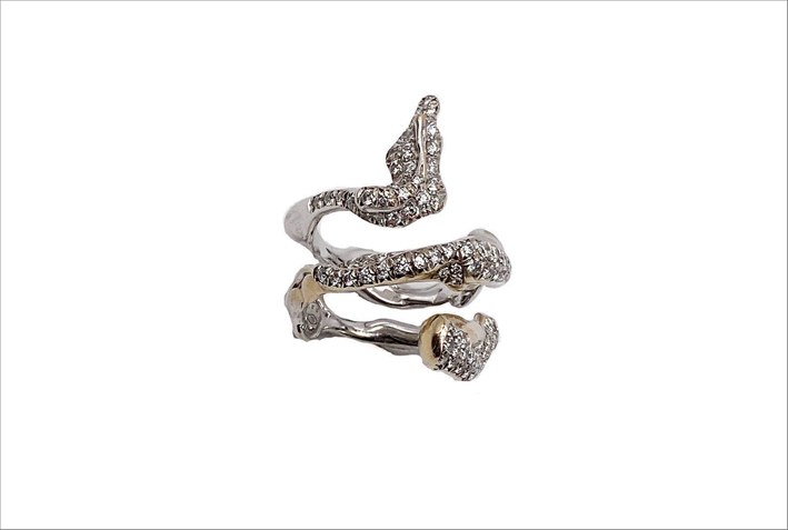 Anello Serpente in oro bianco e diamanti
