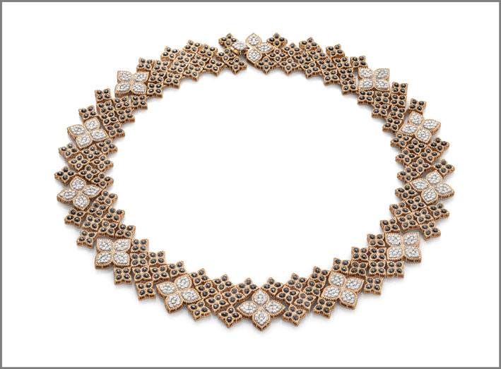 Rose gold collar necklace with black and white diamonds