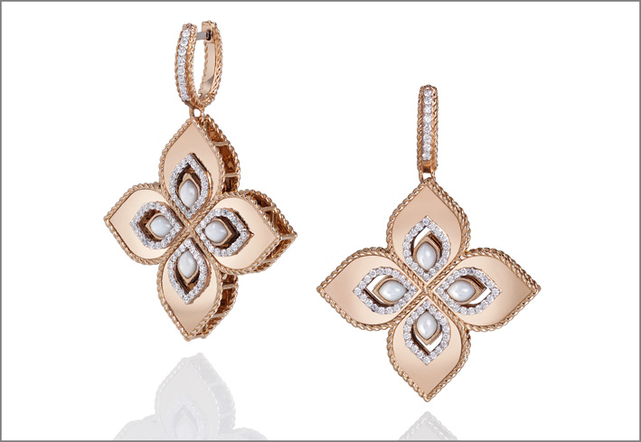 XL earrings in rose and white gold with mother of pearl and diamonds and with white and black diamond pavé