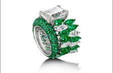 Anello di de Grisogono, di diamanti e smeraldi