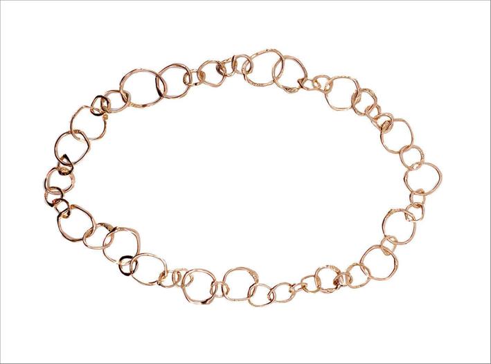 Collana a catena in oro rosa. 18 carati