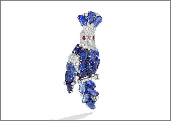 Spilla con zaffiri, rubini e diamanti di Cartier, 1960