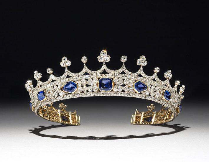 Tiara della regina Vittoria, in oro, diamanti e zaffiri