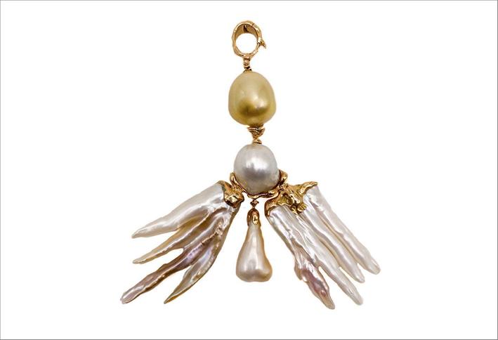 Pendente Wings in oro rosa 18 carati e perle