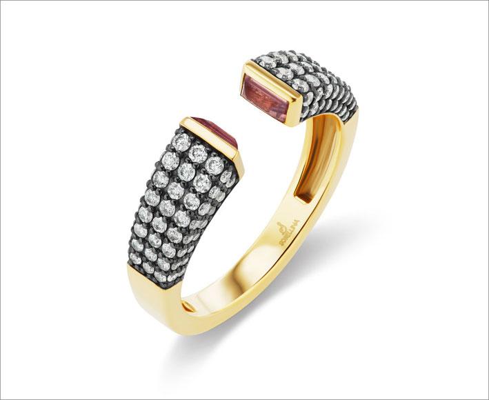 Bracciale in oro, zaffiri rosa e pavé di diamanti