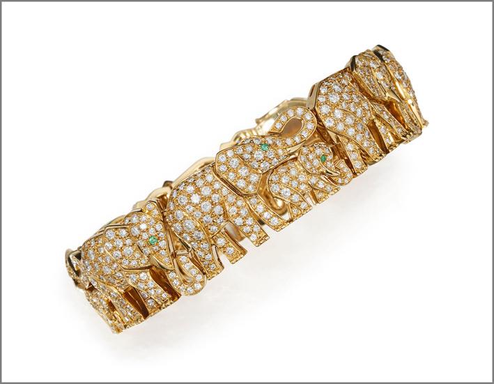 Bracciale con piccoli elefanti in oro e diamanti di Cartier