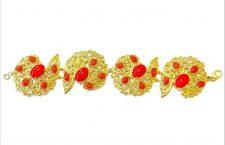 Bracciale Arabesque in argento 925 dorato con pasta di corallo