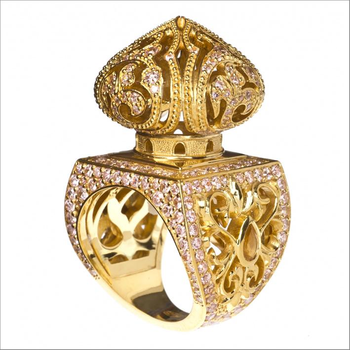 Collezione Scheherazade. Anello in argento placcato oro con ametiste, citrini