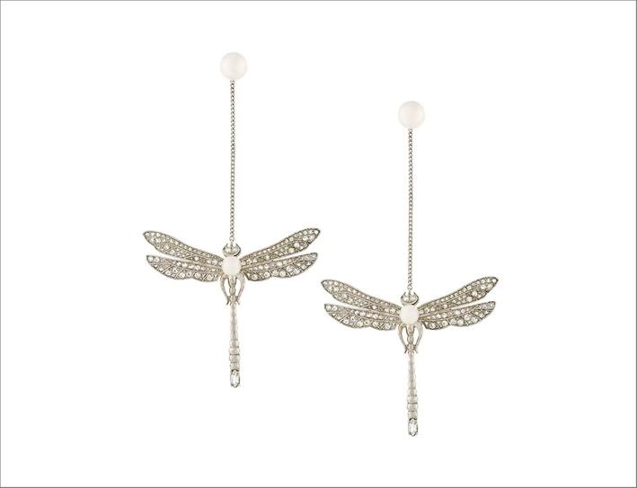 Orecchini libellule in argento, zirconi e perle