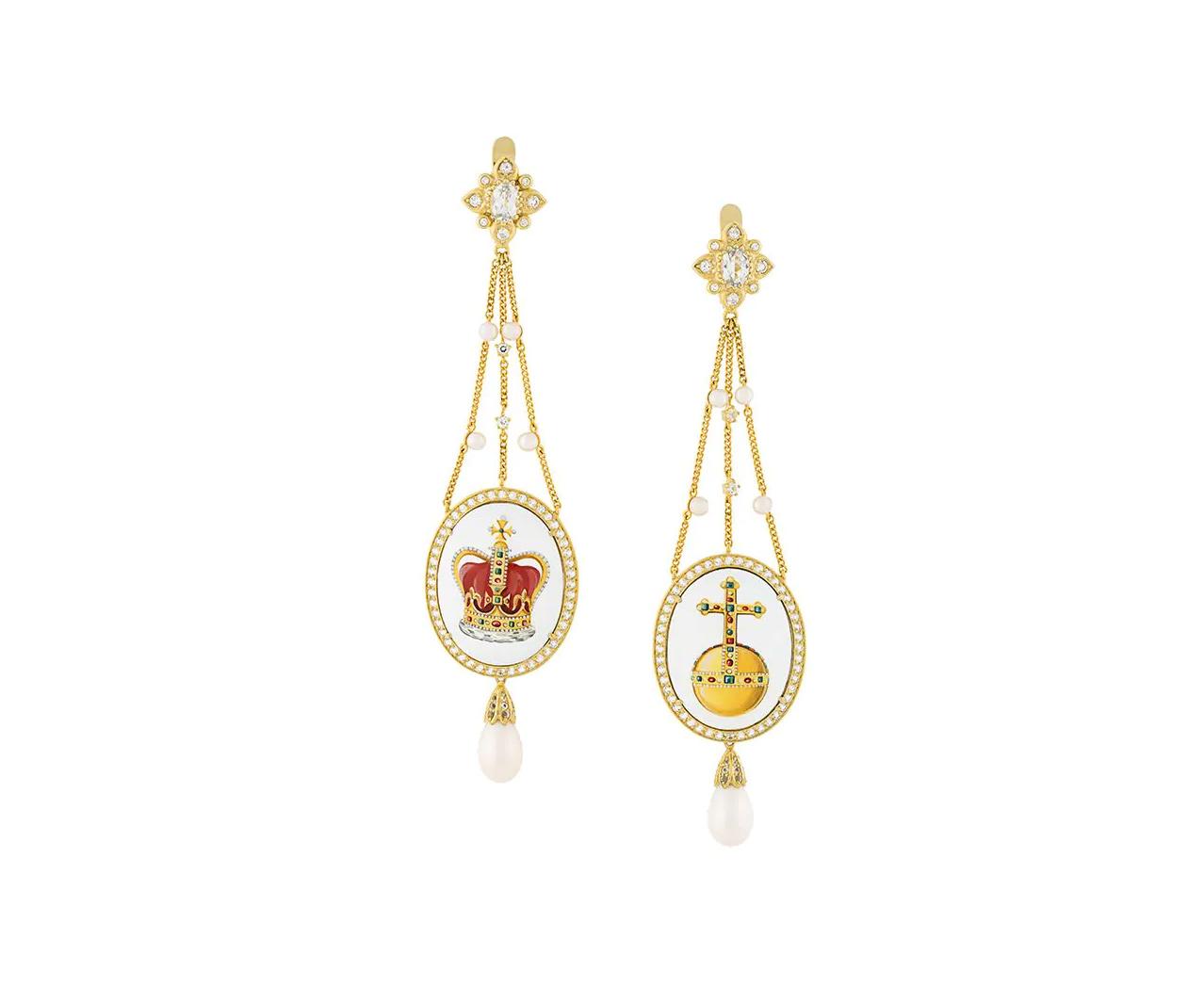 Orecchini pendenti Crown Sovereigns