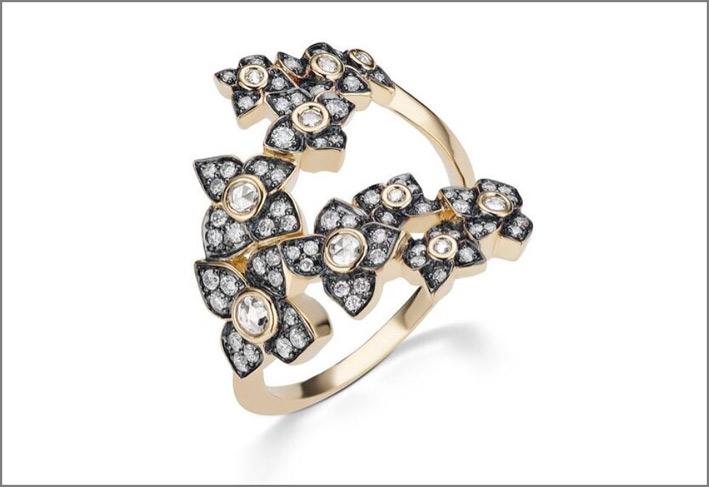 Anello Storm Forcella in oro e diamanti