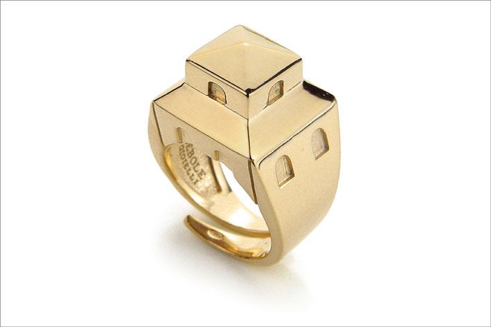 Lebole, anello in argento dorato