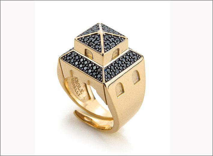 Collezione Tuscany, anello con cubic zirconia neri
