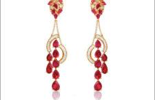 Orecchini della serie Bollywood, in oro, diamanti e rubini