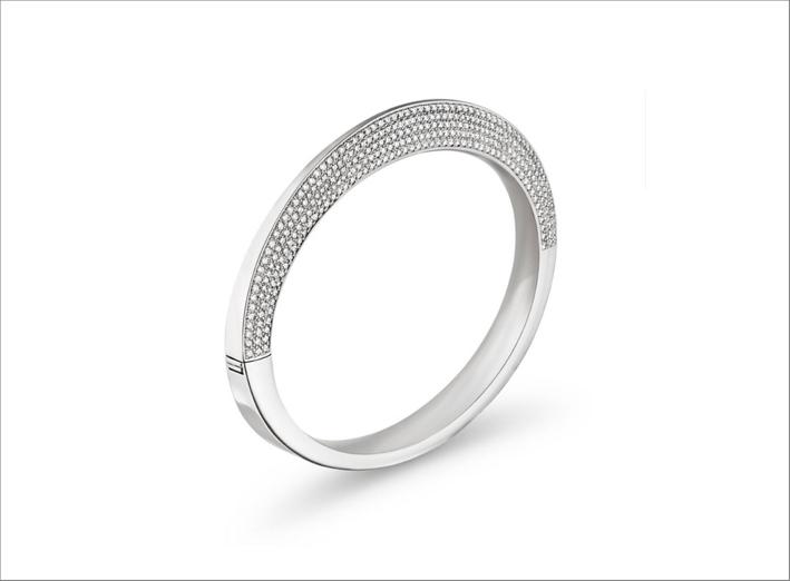 Bracciale Vela in platino e pavé di diamanti