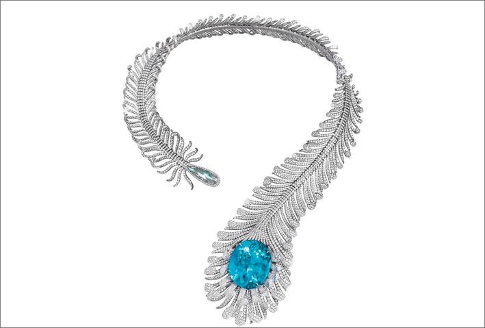 Collier a forma di piuma in titanio con diamanti e tormalina Paraiba