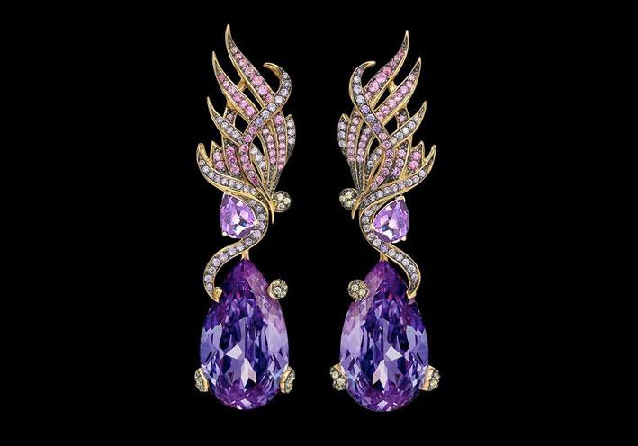 Anabela Chan, orecchini con diamanti e ametiste
