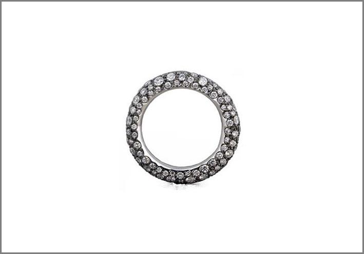Anello Rocky,in platino e diamanti