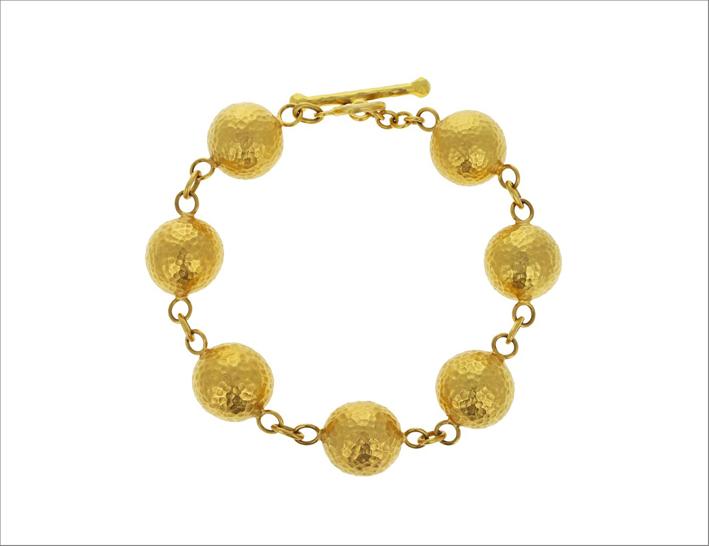 Bracciale con sfere in oro martellato